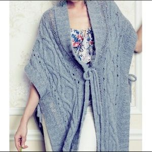 Anthropologie Sleeping On Snow Cable Wool Poncho